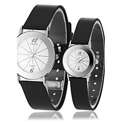 Couple's Simple Style Round Dial Black Rubber Band Quartz Wrist Watch (Assorted Colors)