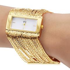 Carré de la mode de conception de glands d'or d'acier de quartz de bande de montre-bracelet des femmes (couleurs assorties)