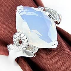 Classic Moonstone Wine Quartz Gemstone Silver Ring 1PC