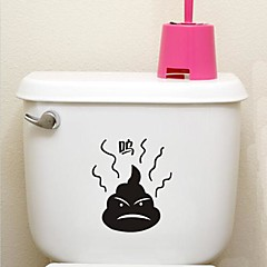 söt badrum dekoration vattentät klistermärken bajs desigh miljö plast (blackx1pcs)