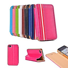 Fashion Style PU Leather Full Body Case with Stand and Card Slot for iPhone 4/4S (Assorted Colors)