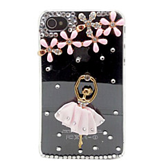 Crystal Ballet Girl Pattern Plastic Case for iPhone 4/ 4S
