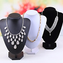 Classic 25CM Nack Die Pendant Necklace Stand Multicolor Paper Flannelette Jewelry Displays(1 Pc)(Black,White)