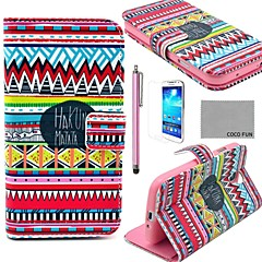 COCO FUN® Red Tribal Pattern PU Leather Case with Screen Protector, Stylus and Stand for Samsung Galaxy S4 I9500