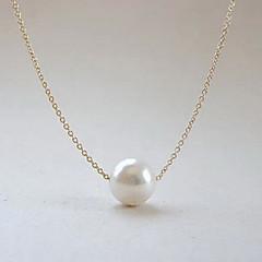 European  (Pearl) Silver Alloy Pendant Necklace(White) (1 Pc)