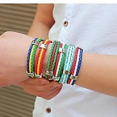 European World Soccer 25cm Men's Multicolor Leather Bracelet(1,2,3,4,5,6)(1 Pc) Jewelry