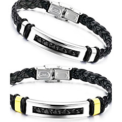 Stylish Titanium Steel Leather Woven Men's Bracelet Jewelry Christmas Gifts