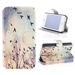 Happy Birdie PU Full Body Case with Card Slot and Stand for iPhone 4/4S