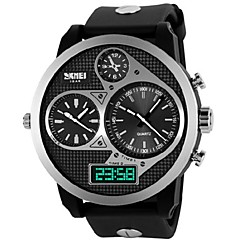 Skmei® Men's Watch Big Dial Three Time Zones 50M Waterproof Cool Watch Unique Watch Fashion Watch