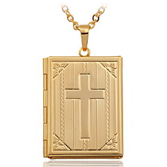 U7® 18K Real Gold Plated Cross Bible Photo Locket