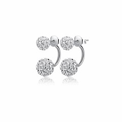 Women's Fashion Cute Retro Korean Version Of The Classic European And American Platinum Plated Sterling Silver Crystal Earrings