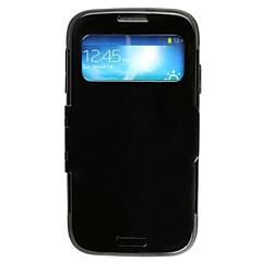 caso aberto aleta de proteção com janela de exibição para Samsung Galaxy s4/i9500 - branco