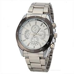 שעון יד קוורץ של גברים בסגנון מזדמן להקת פלדת כסף