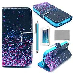 COCO ® FUN Noite Pirilampo Padrão PU Leather Case Full Body com Filme, Stand e Stylus para iPhone 5/5S