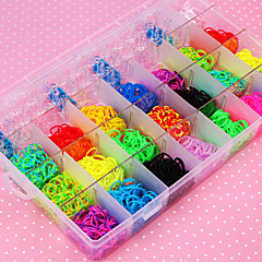 Rainbow Color Loom 28 Cells Multicolor Band (4400 Pcs) And Connector