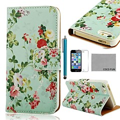 COCO ® FUN Flor Verde Padrão PU Leather Case Full Body com Filme, Stand e Stylus para iPhone 5/5S