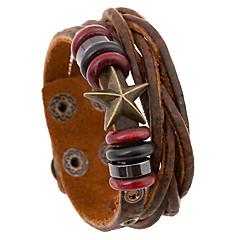 pérolas clássicas e estrela 20 centímetros pulseira de couro de couro marrom dos homens (1 pc)