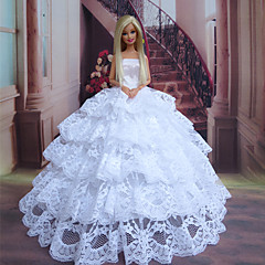 Barbie Doll Shy Bride Pure White Lace Layered Princess Dress