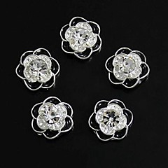 10pcs Giltter Rhinestones Flower With Black Petal 3D Alloy Nail Art Decoration