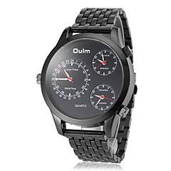 trois fois la montre-bracelet en acier bande zone noire de quartz des hommes