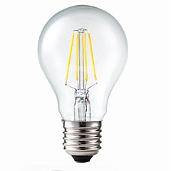 5W E26/E27 Lampadine LED a incandescenza G60 4 COB 400 lm Bianco caldo Intensità regolabile / Decorativo AC 220-240 V