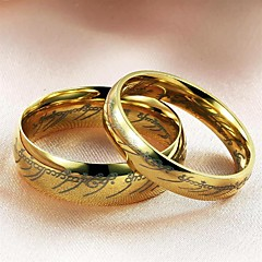 Gold Plating Scripture One Ring Couples Titanium Steel Ring