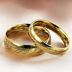 Ringer Bryllup Fest Daglig Avslappet Smykker Titanium Stål Par Parringer5 6 7 8 9 10 11 12 Gylden