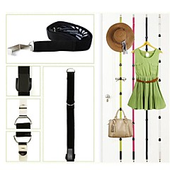 Over Door Adjustable Straps Hanger Hat Bag Clothes Rack Holder Organizer with 8 Hooks