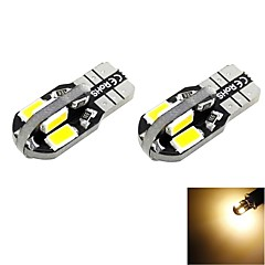 T10 2W 8x5730 SMD LED 100lm 3000K Warm White Light Dome Reading Side Marker Bulb for Car (DC 12V , 2-Pack)