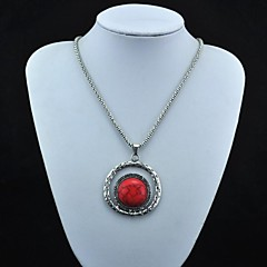 Toonykelly® Vintage Look Antique Silver Plated Round Red Turquoise Necklace(1 Pc)