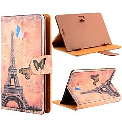 romantisk eiffeltårnet mønster universell flip lær stativ tilfelle for alle 7 tommers tablet pc med magnetisk flip-knapp