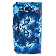sininen retro vanha kissa sarjakuva kuvio pu nahkakotelo kansi ja jalusta Samsung Galaxy S3 i9300