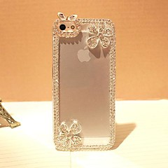 luksus diamant blomster Bagplademateriale Case for iPhone 5 / 5s
