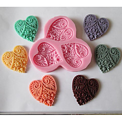 Three Heart Flower Shaped Baking Fondant Cake Chocolate Candy Mold,L11cm*W10cm*H1cm
