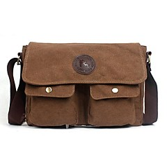 Men's Outdoors Fashional British Retro Style Brown Canvas Cowhide Single-Shoulder Bag