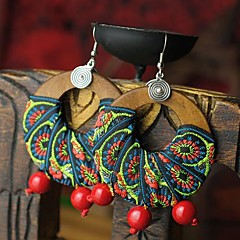 Earring Drop Earrings Jewelry Party / Daily / Casual Wood / Fabric Red