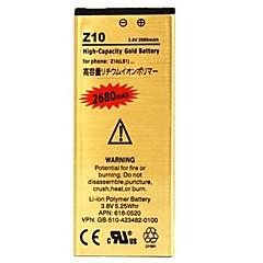 베리 용 Z10 2680mah 고용량 여분 재충전 금 리튬 이온 고분자 전지