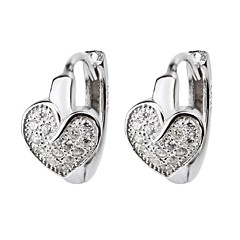 I FREE®Fashion Gift S925 Silver Mosaic Diamond Heart Shape Hoop Earrings 2 pcs (1 pair)