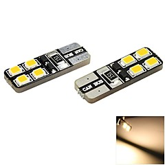 T10 1W 8x2835 SMD LED 70lm 3000K Warm White Light Dome Side Marker Bulb for Car (DC 12V , 2-Pack)