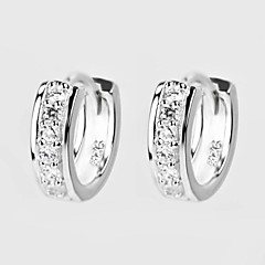Women's Classic Single Row Diamond S925 Silver Earrings 2 pcs (1 pair)