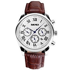 Skmei®Men Round Dial Leather Band 6 Pin Quartz Wrist Watch 30m Waterproof Assorted Colors Cool Watch Unique Watch