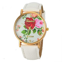 Women's Vogue Rose Pattern PU Leather Band Quartz Wrist Watch (Assorted Colors)