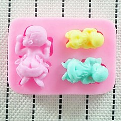 Three Baby Baking Fondant Cake Chocolate Candy Mold,L8cm*W6.3cm*H1.6cm