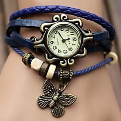Coway ручной, женская круглый циферблат кожаный ремешок кварцевые аналоговые braceiet часы (ассорти цветов)
