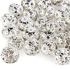 DIY Hollow Spherical-Shaped With Artificial Diamond Silver Plated Spacer Beads (10Pcs)