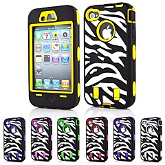 3-in-1 Design Colorful Zebra Stripe Pattern Hard Case with Silicone Inside Cover for iPhone4/4S (Assorted Colors)