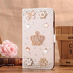 Diamond Gem Iron Tower Petal PU Leather Full Body Case with Stand and Card Slot for iPhone 4/4S