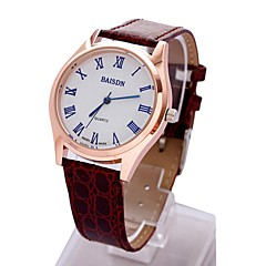 Couple's Simple Round Dial PU Band Quartz Analog Wrist Watch(Assorted Color)