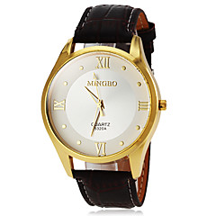 Men's Gold Case Leather Band Quartz Wrist Watch (Assorted Colors)