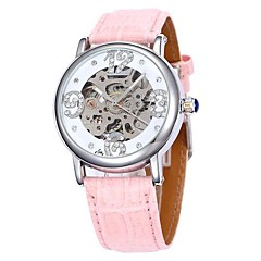 Women's Hollow Dial Leather Band Auto-Mechanical Wrist Watch (Assorted Colors)